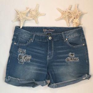 Ariya denim cut off shorts with lace pockets